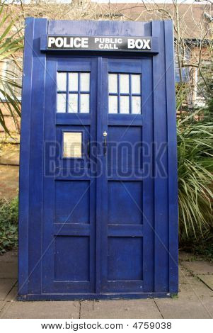 an old english Police Box like the one used as a Tardis in Dr Who poster