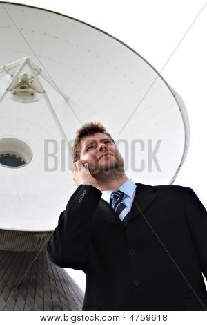 Businessman With Satellite Dish