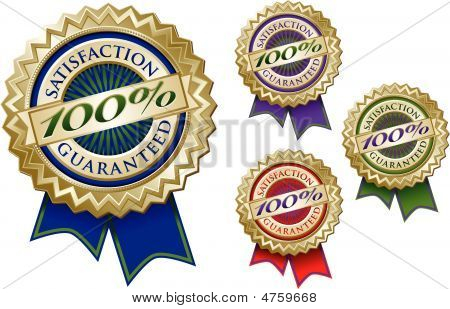 Set of Four Colorful 100% Satisfaction Guarantee Emblem Seals With Ribbons. poster
