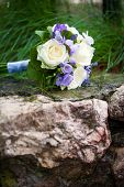 Wedding bouquet with yellow roses and lavender flowers poster