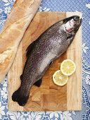 freshly caught trout served on a wooden plank served with bread and slices of lemon close up white tablecloth with blue pattern poster