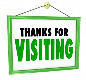 Thanks For Visiting hanging sign for a store to thank, appreciate and express a message of gratitude for a customer or visitor who has bought goods or services and is leaving or exiting the business poster