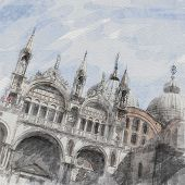 art watercolor background with facade of St Mark's basilica in Venice, Italy poster