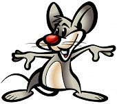 Baby mouse vector gray merry with big ears loves cheese champ;nibble;gnaw lives in mink poster