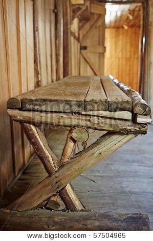 Wooden Bench Inside Old Hut