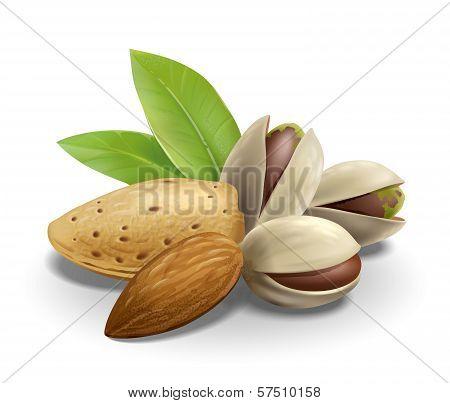 Almonds and Pistachios composition