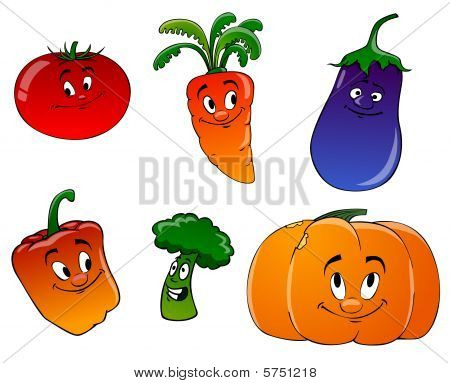 Cartoon Vegetables On A White Background