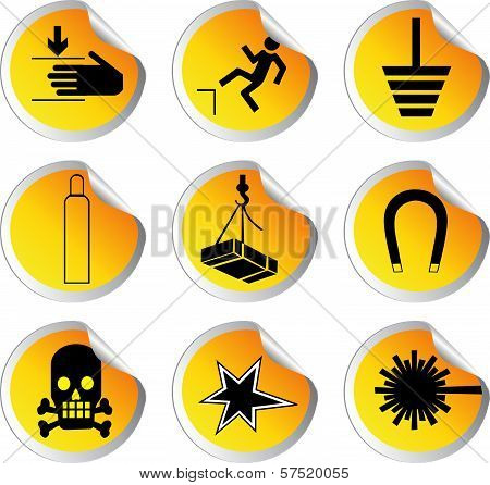 Stock Color Vector Glossy Stickers With Warning Signs Vector Work.