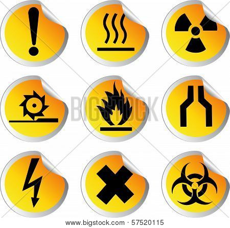 Stock Color Vector Glossy Stickers With Warning Signs Set 1