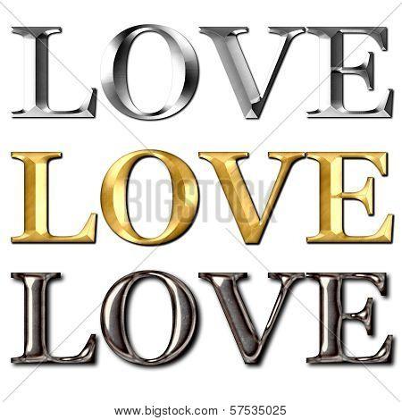 Love Text Metal Effect