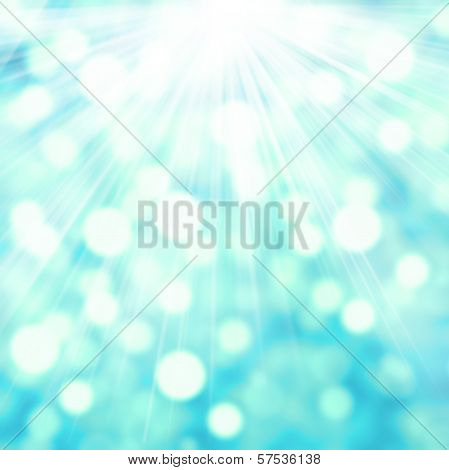Abstract Twinkled Bright Background With Bokeh Defocused Festive Lights. Blue Green Color With Ray L