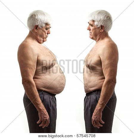 Overweight man and regular weight man over white