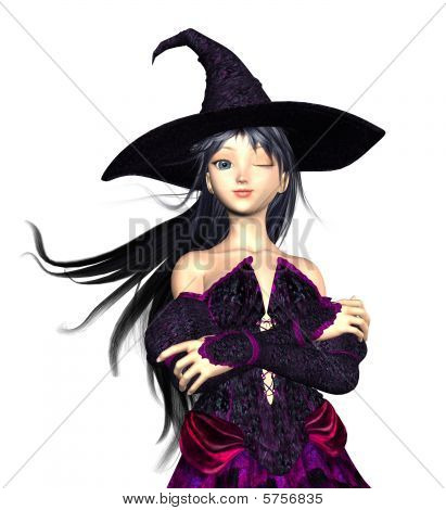 Witch in pointed hat with wind blown hair