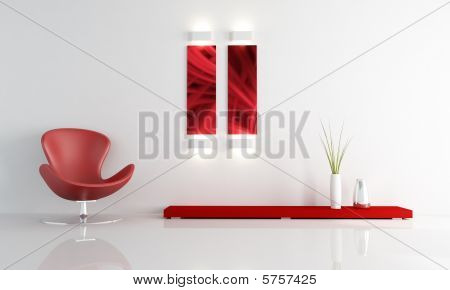Red Leather Fashion Armchair In A Minimal Living Room