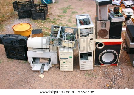 Old Computer Parts And Electronic Junk In Flea Market