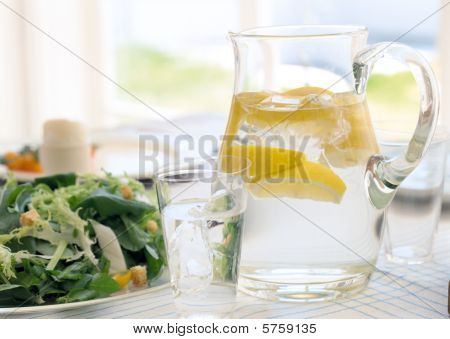 fresh salad and cool lime juice on a hot summers day