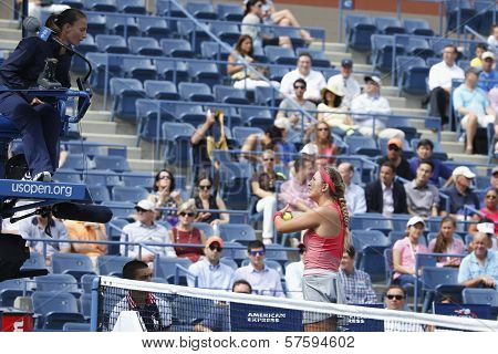 wo times Grand Slam champion Victoria Azarenka argues with chair umpire during match at US Open 2013