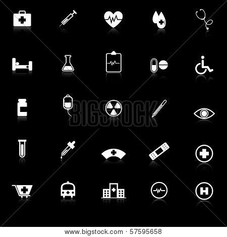 Medical Icons With Reflect On Black Background