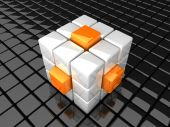 Illustration of large cube with orange bars poster