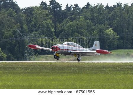 BERLIN, GERMANY - MAY 20, 2014: Two-seat jet aircraft Messerschmitt Stiftung Hispanic Aviacion HA-200, demonstration during the International Aerospace Exhibition ILA Berlin Air Show.
