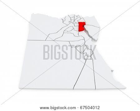 Map of Suez. Egypt. 3d