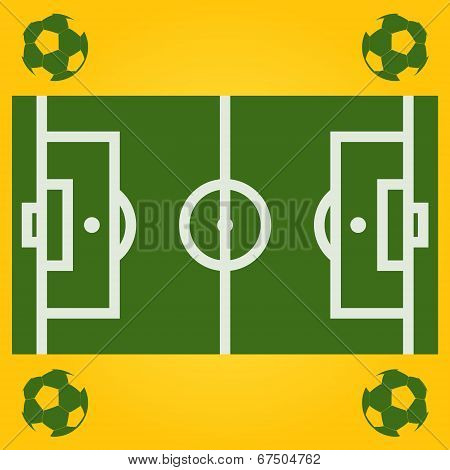 Vector football field illustration with ball