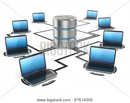 Database and laptops. Networking concept. Three-dimensional image