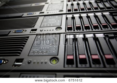 Servers rack in a data center