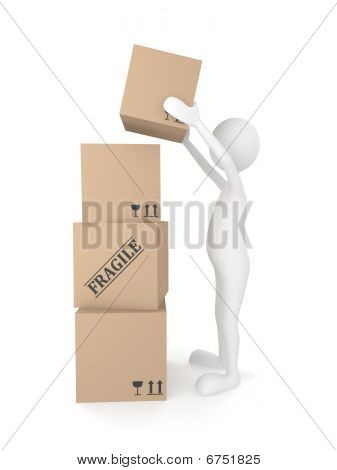 Man putting cardboard box
