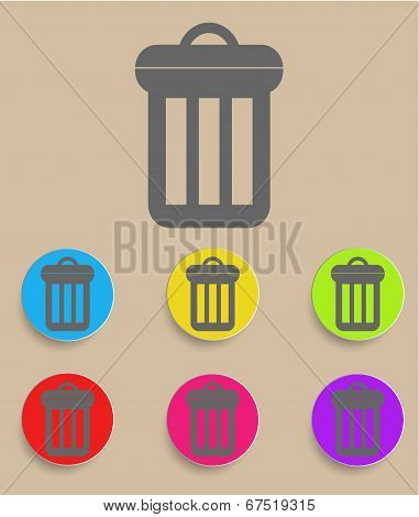 Trash can icon with color variations, vector