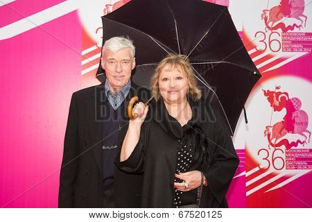 MOSCOW - JUNE, 28: Director B. Scherbakov with wife. 36st Moscow International Film Festival. Closing Ceremony at Rossiya Cinema . June 28, 2014 in Moscow, Russia