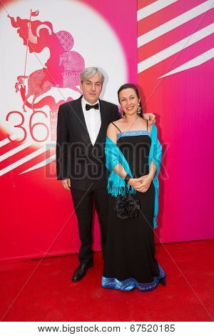 MOSCOW - JUNE, 28: Laurent Danielou with wife. 36st Moscow International Film Festival. Closing Ceremony at Rossiya Cinema . June 28, 2014 in Moscow, Russia