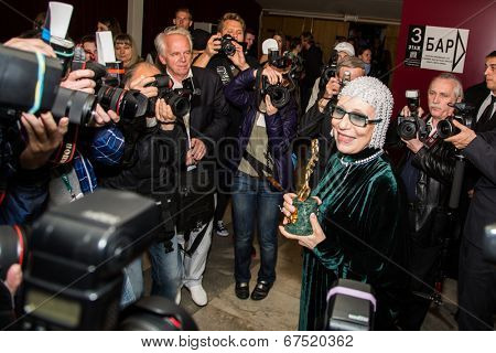 MOSCOW - JUNE, 28: Russian Nina Churikova with prize. 36st Moscow International Film Festival. Closing Ceremony at Rossiya Cinema . June 28, 2014 in Moscow, Russia