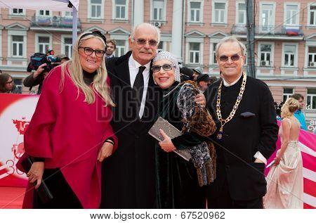 MOSCOW - JUNE, 28: T.Mikhalkova, Nikita Mikhalkov, N. Churikova, G.Panfilov. 36st Moscow International Film Festival. Closing Ceremony at Rossiya Cinema . June 28, 2014 in Moscow, Russia