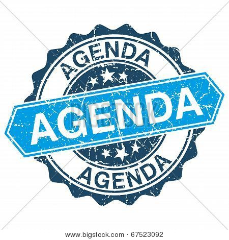 Agenda grungy stamp isolated on white background poster