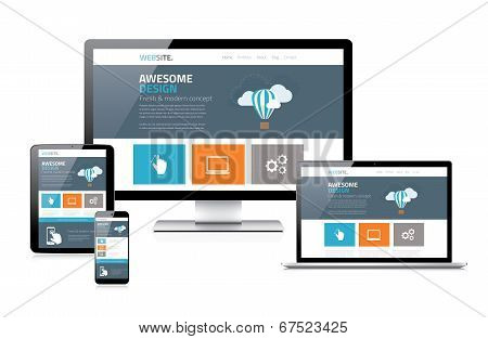 Modern flat responsive web design vector illustration devices