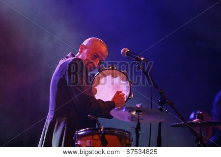 LOULE - JUNE 27: Mercedes Peon a traditional musician from Galicia, Spain, performs on stage at festival med a world music festival in Loule, Portugal, June 27, 2014