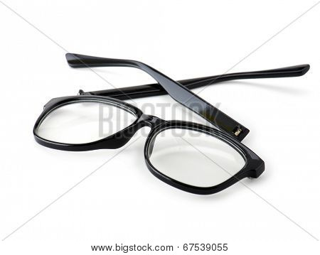 Broken eye glasses, isolated on white with real shadows. Black celluloid frame.