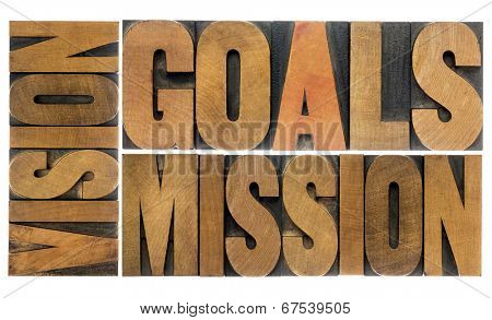 goals, vision and mission word abstract -  a collage of isolated text  in letterpress wood type