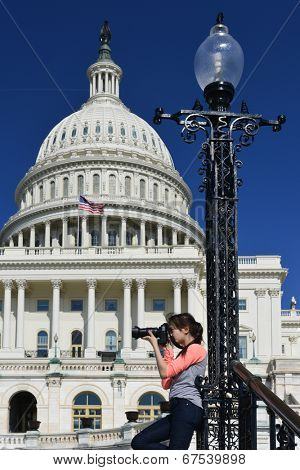 Young photographer at Capitol Hill - Washington D.C. United States