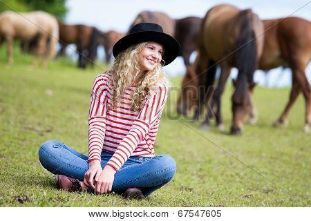 Woman Enjoying Horses Company