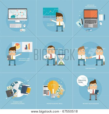 Set of Flat Style Icons for Business Design. Office Workers, Managers and Developers. Advanced Technology and Remote Management Icons. Office Items. World Globe. Financial Analysis and Statistics.