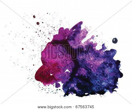 Vector watercolor stain isolated on white