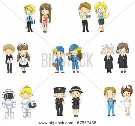 Cartoon Characters In Both Man And Woman In Various Professional Jobs (vector)