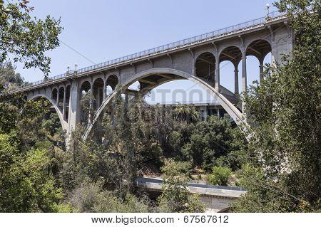 Historic Colorado Blvd bridge in Pasadena, California.