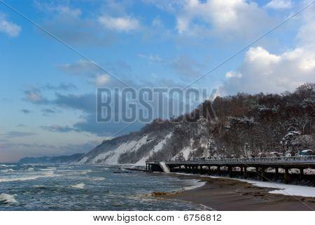 Winter Landscape: Baltic Sea Embankment In Svetlogorsk