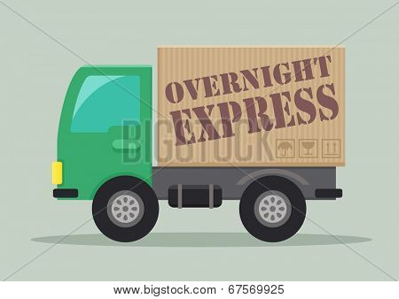 detailed illustration of a delivery truck with overnight express label, eps10 vector