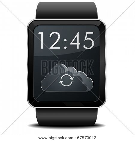 detailed illustration of a wearable smartwarch with a cloud synchronising screen, eps10 vector