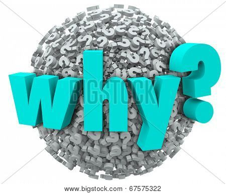 Why word 3d letters sphere question marks wonder inquisitive searching reason or cause