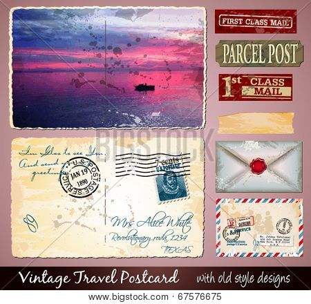 Travel Vintage Postcard Design with antique look and distressed style. Includes a lot of paper elements and postage stamps.